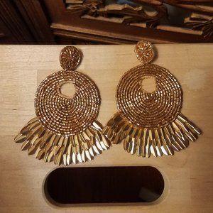gold tassle earrings